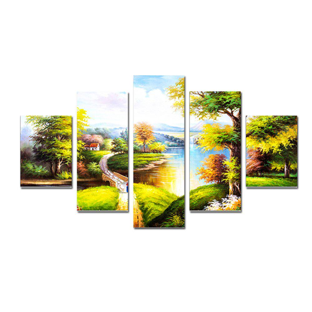 QiaoJiaHuaYuan Modern Simple Living Room Sofa Background Landscape Painting 5PCS genuine leather modern living room sofas shipping to your port promotion model post modern chesterfield sofa 4 seater 2 chairs