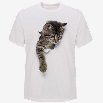 Men's Casual 3D Cat Round Neck Short Sleeve T-shirt - WHITE L