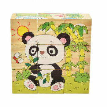 3D Cartoon Six Sides Wooden Puzzle Education Learning Tools Toy for Kids - multicolor