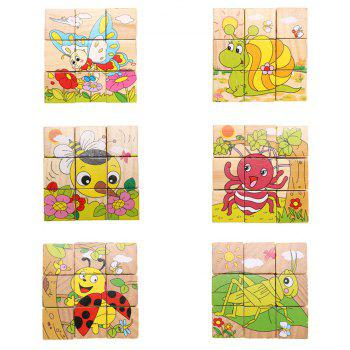3D Cartoon Six Sides Wooden Puzzle Education Learning Tools Toy for Kids - multicolor B