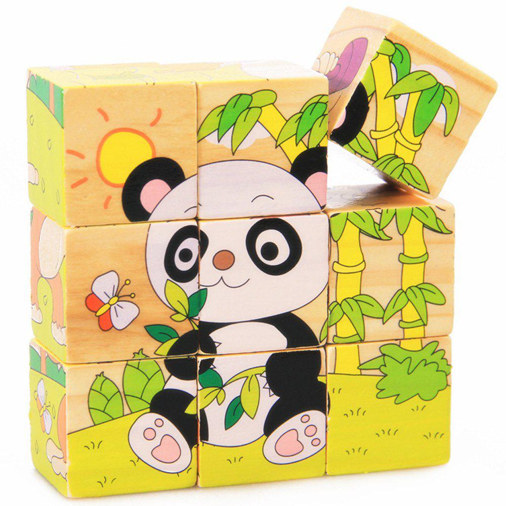 3D Cartoon Six Sides Wooden Puzzle Education Learning Tools Toy for Kids diy 3d wooden puzzle piano for kids gift