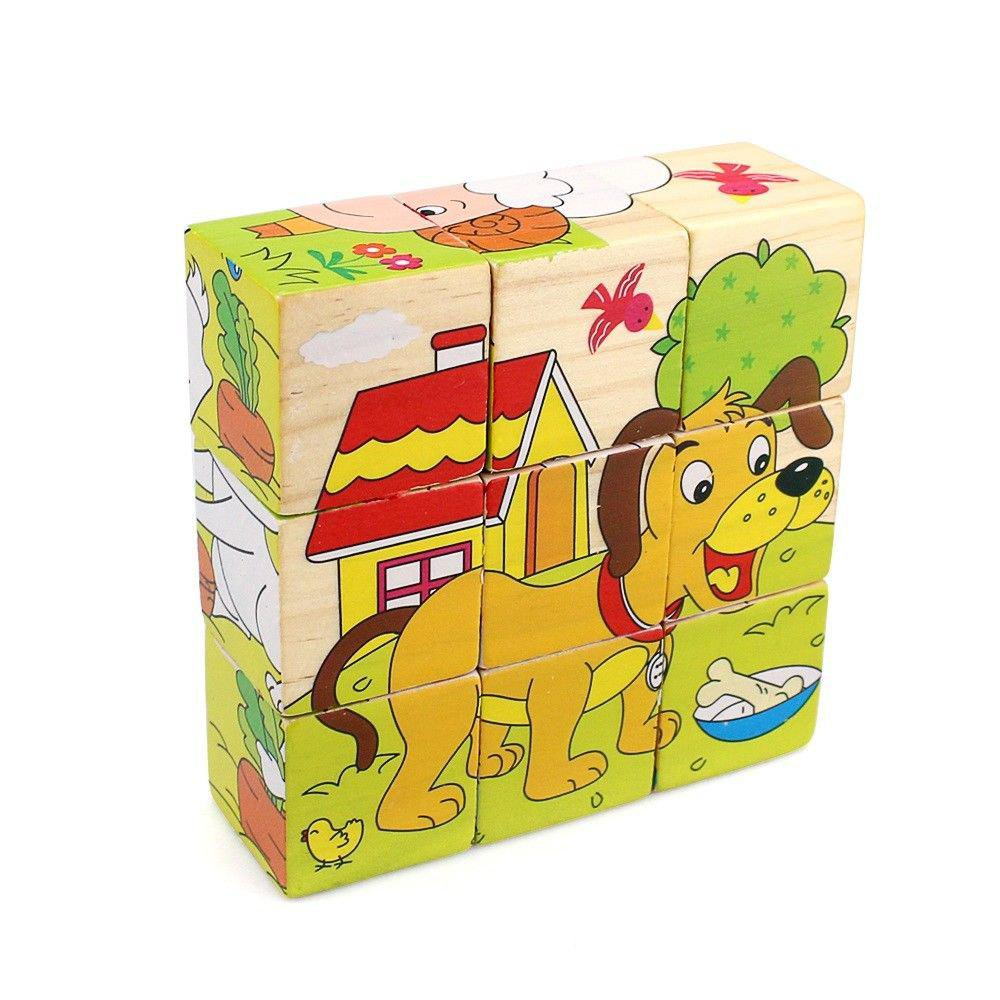 3D Cartoon Six Sides Wooden Puzzle Education Learning Tools Toy for Kids montessori wooden math toys for children boys digital learning education early educational game brinquedos oyuncak