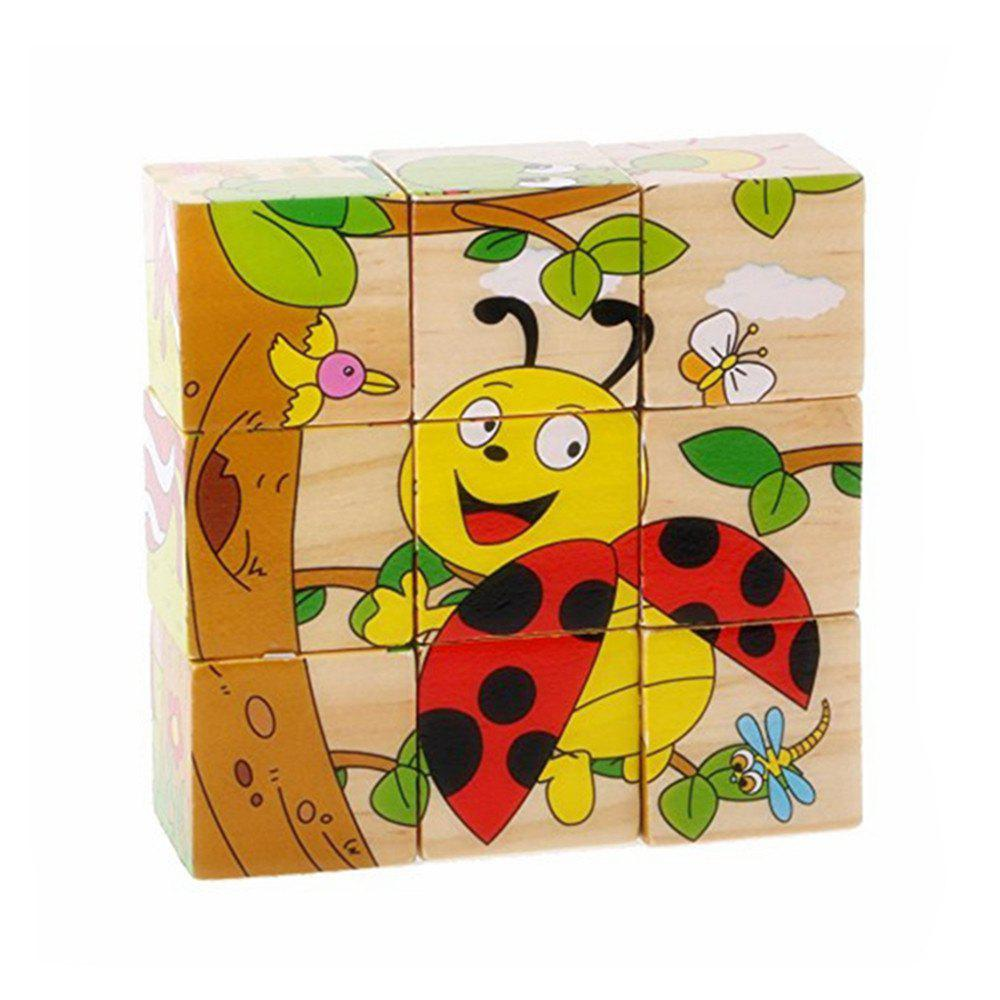 3D Cartoon Six Sides Wooden Puzzle Education Learning Tools Toy for Kids abacus sorob baby puzzle wooden toy small abacus handcrafted educational toy children s wooden early learning kids math toy mz64