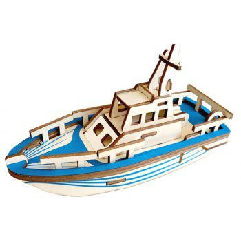 Creative Lifeboat 3D Wood  DIY Laser Cut Puzzles Jigsaw Model Toy - multicolor