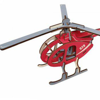 Creative Helicopter 3D Wood DIY Laser Cut Puzzles Jigsaw Model Toy - RED