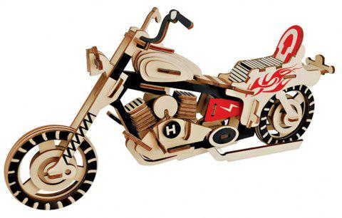 Creative Moto 3D Wood DIY Laser Cut Puzzles Jigsaw Model Toy - multicolor