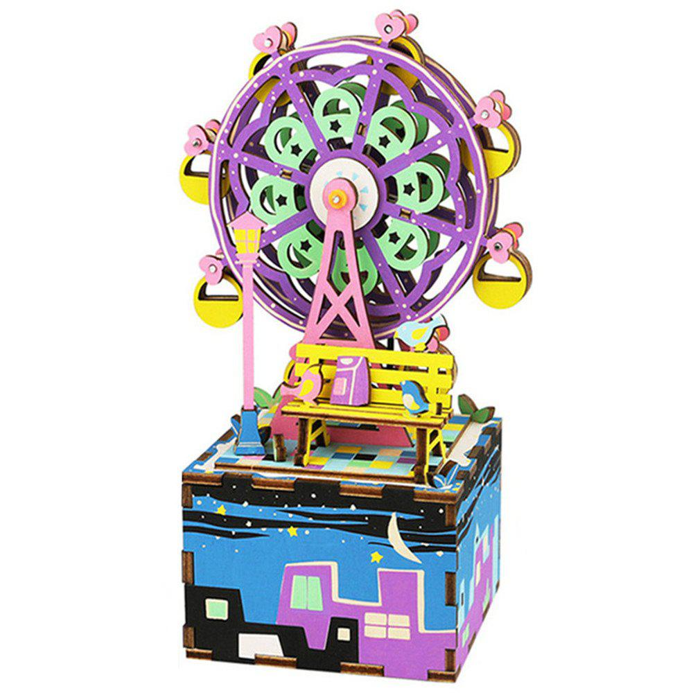 Creative 3D DIY Coloful Wooden Ferris Wheel Music Box Model Best Gift - multicolor