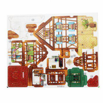 Creative 3D Wood Puzzle DIY Model French Style Coffee House Building Puzzle Toy - multicolor