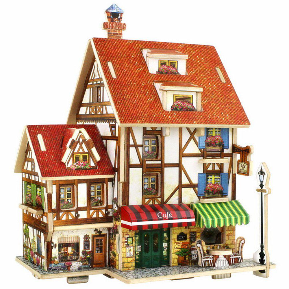 Creative 3D Wood Puzzle DIY Model French Style Coffee House Building Puzzle Toy 3d apple brain teaser crystal puzzle iq toy color asserted 2 l736