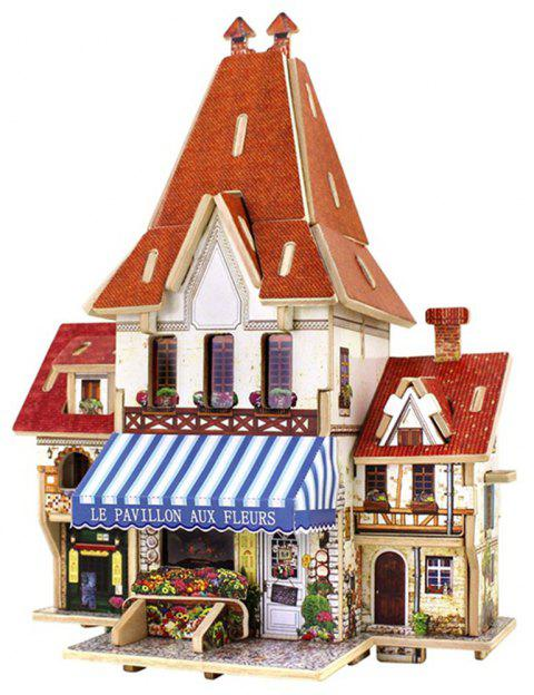 Creative 3D Wood Puzzle DIY Model French Style Flower Shop Building Puzzle Toy - multicolor