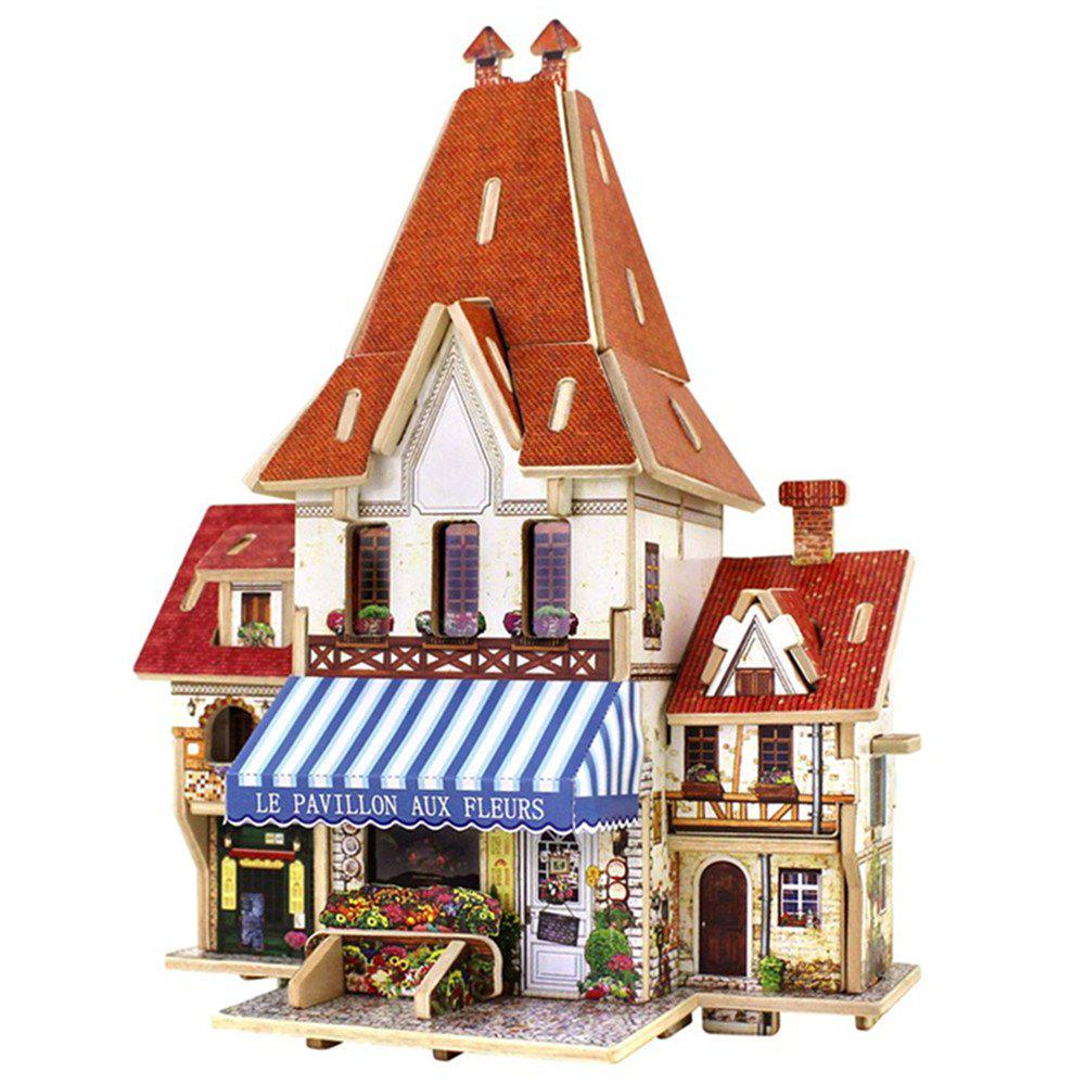 Creative 3D Wood Puzzle DIY Model French Style Flower Shop Building Puzzle Toy 3d apple brain teaser crystal puzzle iq toy color asserted 2 l736
