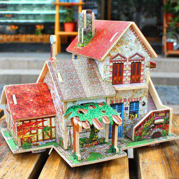 Creative 3D Wood Puzzle DIY Model French Style Farm Building Puzzle Toy - multicolor
