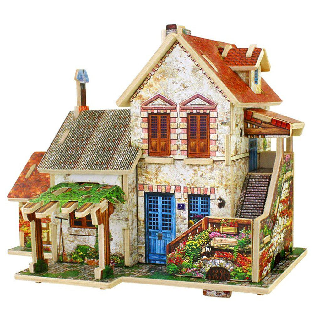 Creative 3D Wood Puzzle DIY Model French Style Farm Building Puzzle Toy 3d apple brain teaser crystal puzzle iq toy color asserted 2 l736