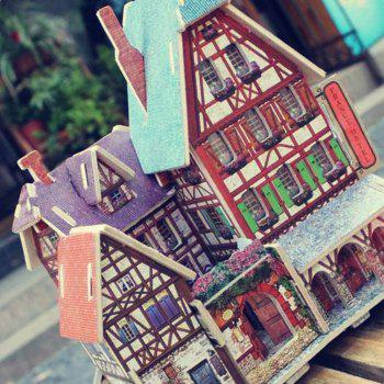 Creative 3D Wood Puzzle DIY Model French Style Hotel Building Puzzle Toy - multicolor