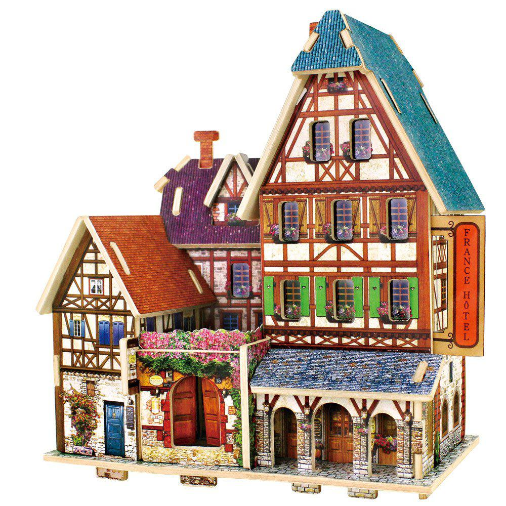 Creative 3D Wood Puzzle DIY Model French Style Hotel Building Puzzle Toy 3d apple brain teaser crystal puzzle iq toy color asserted 2 l736