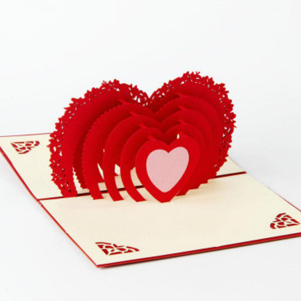 Heart Moon 3D Love Romantic Pop Up Greeting Card Laser Cut - RED