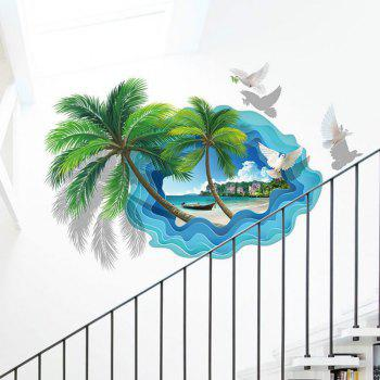 Custom Photo Non-Woven Wall Sticker Coconut Palm Beach Seascape Painting 3D Room - BLUE LAGOON