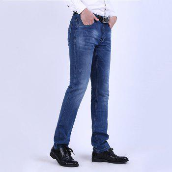 Elastic Straight Tube Business Casual Jeans - NAVY BLUE 36