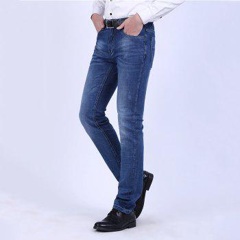 Elastic Straight Tube Business Casual Jeans - NAVY BLUE 34