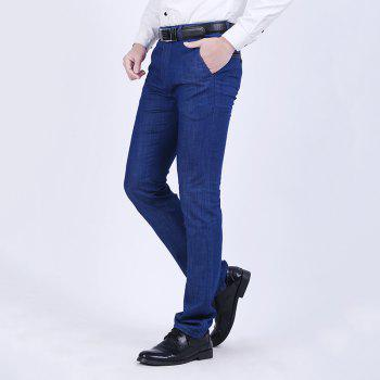 Straight Tube Stretch Business Casual Jeans - DENIM DARK BLUE 34