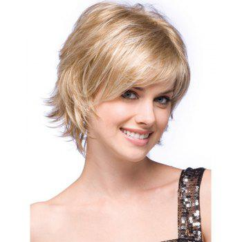 Fashionable Lady Gradient Short  Micro - Roll Wig - BLONDE 12INCH