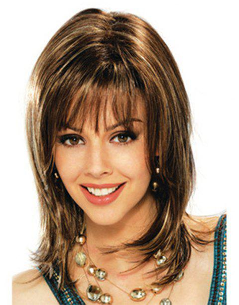 Neat Bang Straight Medium-length  Hair Wig - CAMEL BROWN 16INCH