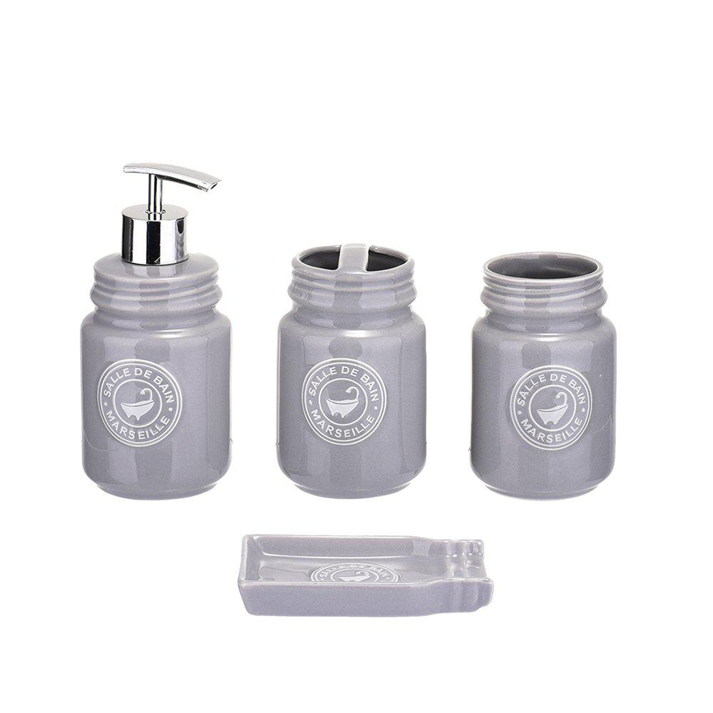 Ceramic Bath and Shower Accessories Ensemble 4pcs Set chrome plated brass toilet brush holders wall mounted luxury wc brush head ceramic cup holder hardware bath room accessories set