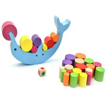 Dolphin Balance Beam Building Blocks Kids DIY Puzzle Educational Toy - multicolor