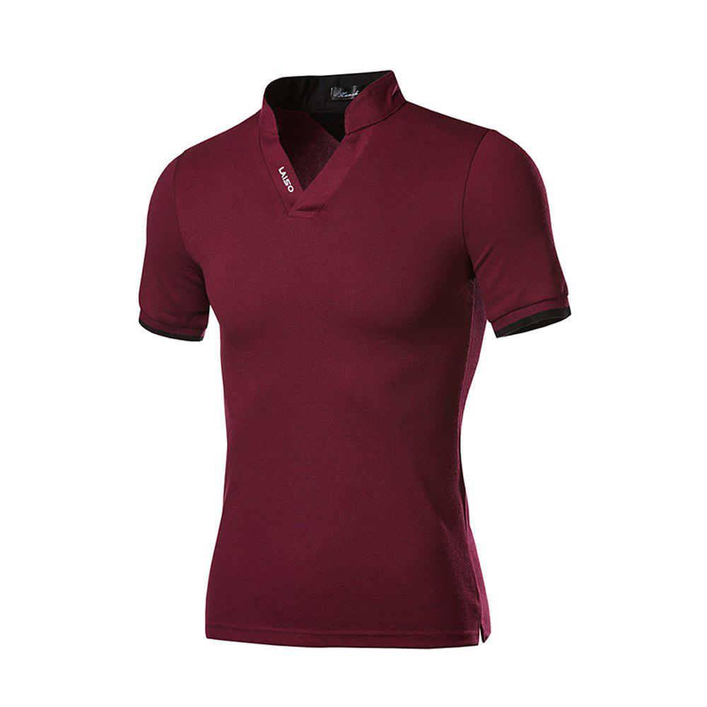 2018 New Men's Self-cultivation Fashion Solid Color Short-sleeved T-shirt - PLUM PIE XL