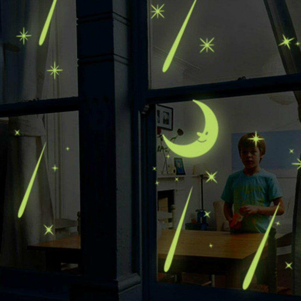 3D Luminous Stars and Moon Wall Sticker Glow Home Decoration hyl 8032