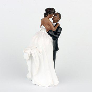 Lift Arms  Bride and Groom Cake Ornaments Decoration - NATURAL BLACK