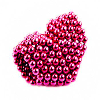 Magic Buck Ball Magnetic  Decompression Puzzle Children Magical Cube Toy - ROSE RED 5MM
