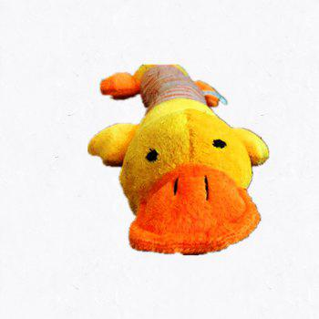 Pet Cartoon Voice Toy Stuffed Animal Pink Pig Yellow Duck Elephant for Dogs - YELLOW