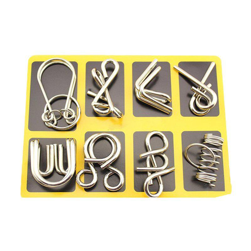 Nine Serial Toys Ring Solution Buckle Educational  Adult Child Gift 8PCS - SILVER