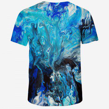 2018 New Fashion Casual 3D Printing Male Short T-Shirt - OCEAN BLUE 3XL