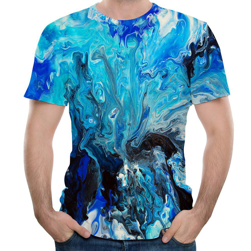 2018 New Fashion Casual 3D Printing Male Short T-Shirt - OCEAN BLUE M