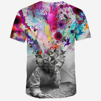 2018 New Fashion Novelty 3D Printing Male Short T-Shirt - multicolor H 4XL