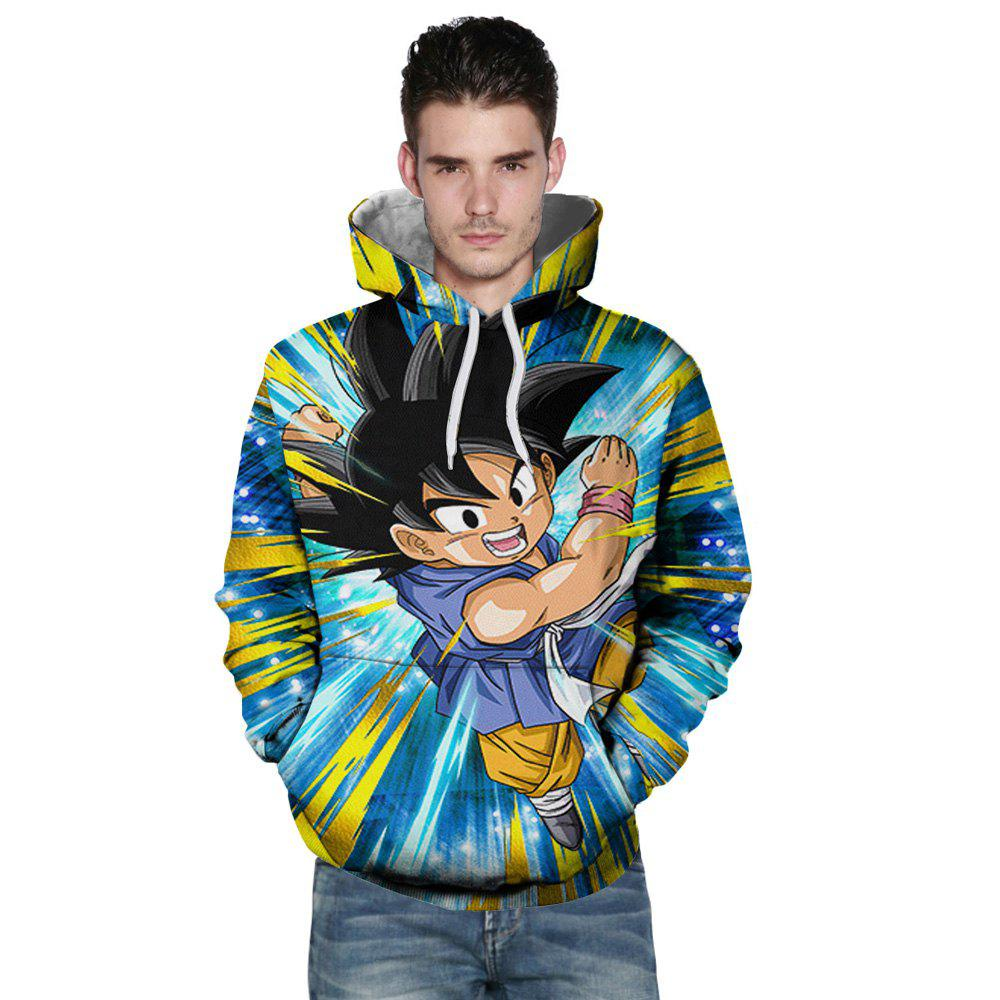 New Fashion Flying Boxing Boy 3D Printing Men's Hoodie - multicolor L