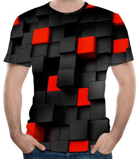 New Fashion Concave and Convex Lattice 3D Printed Men's Short Sleeve T-shirt - BLACK 2XL