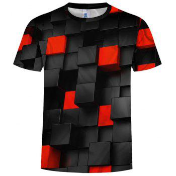 New Fashion Concave and Convex Lattice 3D Printed Men's Short Sleeve T-shirt - BLACK S