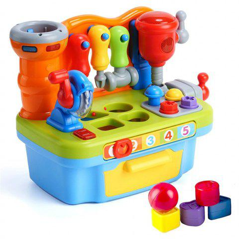 Multifunctional Musical Learning Tool Workbench Toy Set with Engineering Sound E - multicolor A