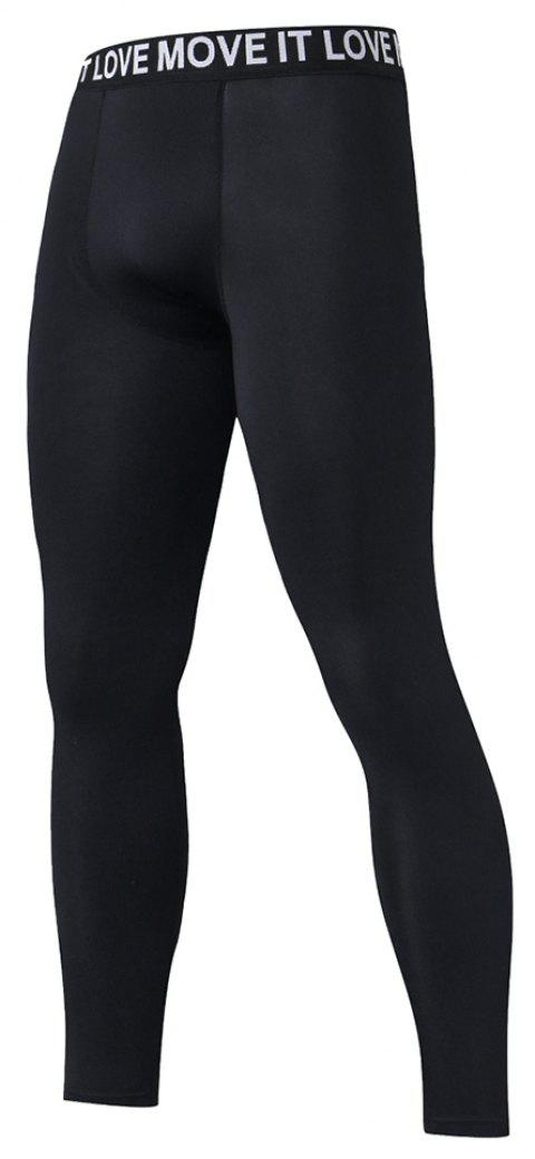 Men's Compression Tight Sport Pants Leggings - BLACK M