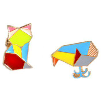 Creative Geometric Lines Colorful Animals Whale Brooches Accessories - multicolor 1.7X2.3CM
