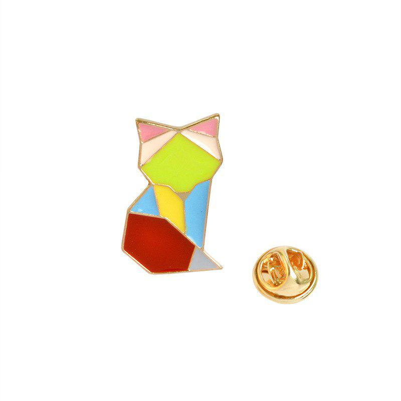 Creative Geometric Lines Colorful Animals Whale Brooches Accessories - multicolor A 2.2X1.4CM