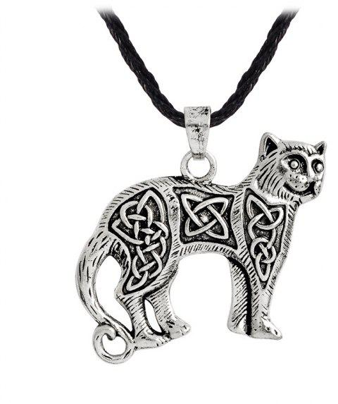 Men's Animal Cat Pendant Necklace Kettl Cool Fashion - SILVER 4X1.5X45CM