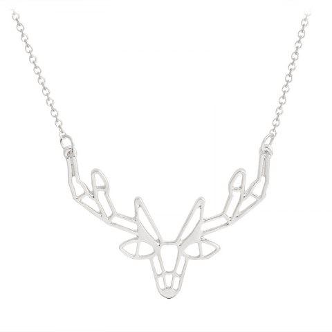 Character Animal Origami Elk Horn Pendant Necklace Lady Jewelry - SILVER 4.4X3.2X50CM