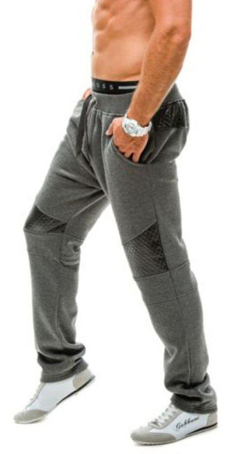 New Men's Fashion Plaid Patchwork Casual Pants - DARK GRAY L