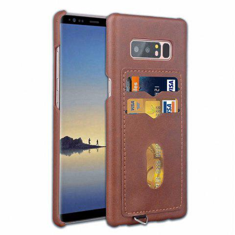 Card Holder Back Cover Solid Color Hard PU Leather Case for Samsung Galaxy Note 8 - DEEP BROWN