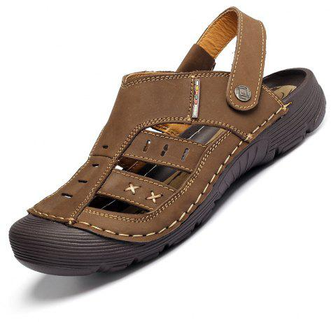 Men Casual Fashion Sandals Leather Shoes - SEPIA 42