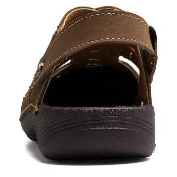 Men Casual Fashion Sandals Leather Shoes - SEPIA 44